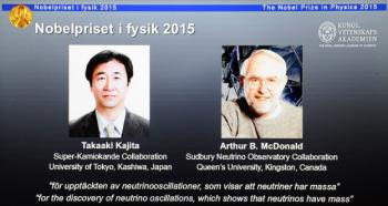 The portraits of the winners of the Nobel Prize in Physics 2015 Takaaki Kajita (L) and Arthur B McDonald are displayed on a screen during a press conference of the Nobel Committee to announce the winner of the 2015 Nobel Prize in Physics on October 6, 2015 at the Swedish Academy of Sciences in Stockholm, Sweden. Takaaki Kajita of Japan and Canada's Arthur B. McDonald won the Nobel Physics Prize for work on neutrinos. (Jonathan Nackstrand/AFP/Getty Images)