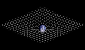 A two-dimensional projection of a three-dimensional analogy of spacetime curvature described in general relativity.  <i>Image by Johnstone/CC BY-SA 3.0</i>