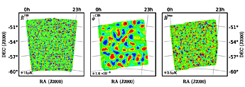 FIG. 1: (Left panel): Wiener-filtered E-mode polarization measured by SPTpol at 150 GHz. (Center panel): Wiener-ltered CMB lensing potential inferred from CIB fluctuations measured by Herschel at 500 μm. (Right panel): Gravitational lensing B-mode estimate synthesized using Eq. (1). The lower left corner of each panel indicates the blue(-)/red(+) color scale.