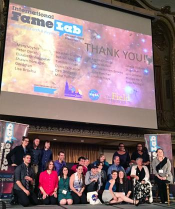 KICP fellow Dan Scolnic (center) and graduate student Ross Cawthon (back row 3<sup>rd</sup> from left) were victorious in the Famelab Regional Heat #5 held in Chicago.