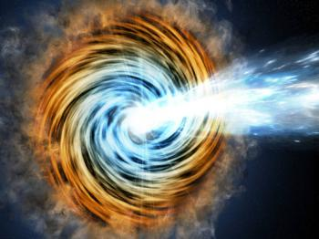 Black-hole-powered galaxies called blazars are the most common sources detected by NASA's Fermi Gamma-ray Space Telescope. As matter falls toward the supermassive black hole at the galaxy's center, some of it is accelerated outward at nearly the speed of light along jets pointed in opposite directions. When one of the jets happens to be aimed in the direction of Earth, as illustrated here, the galaxy appears especially bright and is classified as a blazar. <i>Credits: M. Weiss/CfA</i>