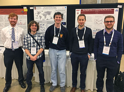 Undergraduate Michael Foley (Far Left) received an AAS Chambliss Student Medal for work conducted with KICP Fellow Dan Scolnic (Second from Right).