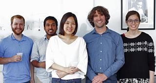 The UChicago LIGO team includes (from left): Ben Farr, Zoheyr Doctor, Hsin-Yu Chen, Assoc. Prof. Daniel Holz and Maya Fischbach. (Not pictured: Reed Essick)  <i>Courtesy of Assoc. Prof. Daniel Holz</i>