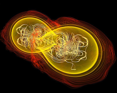 Multiple messages: a neutron-star merger's effects on gravity (left) and matter