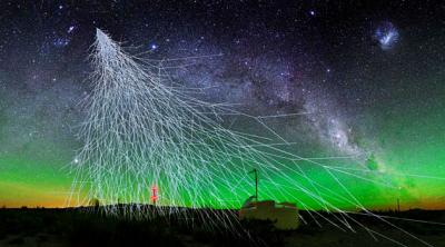 Night sky A high-energy cosmic ray enters the atmosphere, causing a shower of particles that is picked up by the Pierre Auger Observatory in Argentina. The collaboration announced these rays must be coming from beyond the Milky Way. <i>Courtesy of A. Chantelauze, S. Staffi, L. Bret</i>