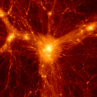 A cluster formed in a Lambda-Cold Dark Matter simulation of structure formation.   <i>Credit: Benedikt Diemer, Philip Mansfield</i>