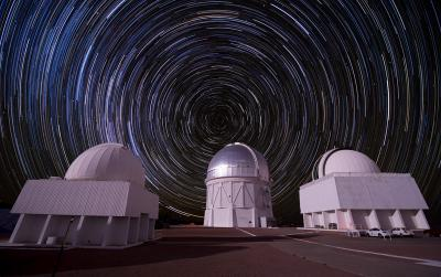 Composite picture of stars over the Cerro Tololo Inter-American Observatory in Chile.  <i>Photo: Reidar Hahn/Fermilab</i>