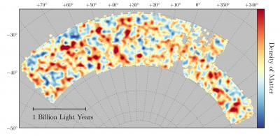 A map of dark matter covering about one -- thirtieth of the entire sky and spanning several billion light years -- red regions have more dark matter than average, blue regions less dark matter.  <i>Courtesy of Chihway Chang, the DES collaboration</i>