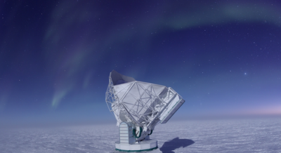 The South Pole Telescope is one of several facilities that map the cosmic microwave background, which is used to estimate the value of the Hubble constant.  <i>Image credit: J. Gallicchio/University of Chicago</i>