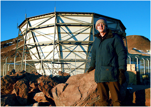 Eric Switzer, KICP fellow, at the Atacama Cosmology Telescope, 17,000 ft.