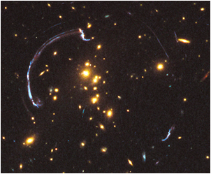 A team of astronomers aimed Hubble at one of the most striking examples of gravitational lensing, a nearly 90-degree arc of light in the galaxy cluster RCS2 032727-132623. Hubbles view of the distant background galaxy, which lies nearly 10 billion light-years away, is significantly more detailed than could ever be achieved without the help of the gravitational lens. This observation provides a unique opportunity to study the physical properties of a galaxy vigorously forming stars when the universe was only one-third its present age. The results have been accepted for publication in The Astrophysical Journal.