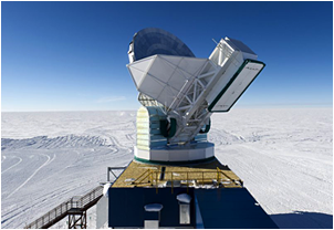 The South Pole Telescope stands 75 feet tall, measures 33 feet across and weighs 280 tons. It was test-built in Kilgore, Texas, then taken apart and transported to the South Pole.  <i>Photo courtesy of Jose Francisco Salgado</i>