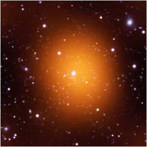 The Phoenix Cluster, shown here as it appears in microwave (orange), optical (red, green, and blue) and ultraviolet (blue) wavelengths, is forming stars at the highest rate ever observed for the middle of a galaxy cluster. The Phoenix Cluster was discovered by a collaboration of astronomers from the University of Chicago's Kavli Institute for Cosmological Physics and elsewhere. (South Pole Telescope collaboration).  <i>(Credit: UV: NASA/JPL-Caltech/M.McDonald; Optical: AURA/NOAO/CTIO/MIT/M.McDonald; Microwave: NSF/SPT)</i>