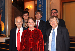 The Directors of the six Kavli Institutes in astrophysics:  back row: Xiao-wei Liu (KIAA in Beijing), Hitoshi Murayama (KIPMU in Japan), George Efstathiou (KICC in Cambridge)  front row: Michael Turner (KICP), Jackie Hewitt (MKI at MIT) and Roger Blandford (KIPAC at Stanford).