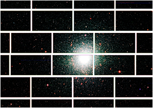Zoomed-in image from the Dark Energy Camera of the center of the globular star cluster 47 Tucanae, which lies about 17,000 light years from Earth.   <i>Credit: Dark Energy Survey Collaboration.</i>