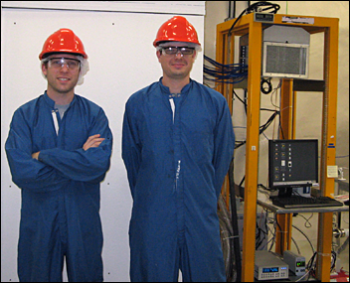 KICP Fellow Alvaro Chavarria (right) and Fermilab postdoc Javier Tiffenberg in front of the polyethylene shielding surrounding the DAMIC detector installed at SNOLAB.