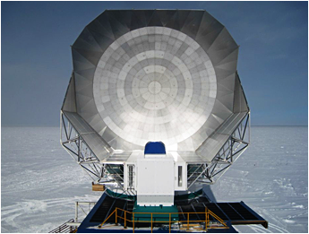 New extended shielding was completed on the 10-meter South Pole Telescope shortly after this photo was taken in January 2013. The discovery of the luminous star-forming galaxies from the early universe was found in the large millimeter-wave survey recently completed with the SPT.  <i>Photo by Erik Nichols</i>