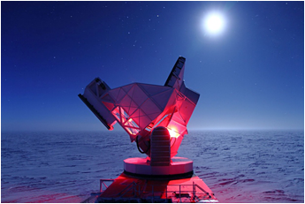 The South Pole Telescope has detected the first B-mode polarization signal in the cosmic microwave background.  <i>Daniel Luong-Van, NSF</i>
