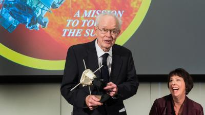 Prof. Emeritus Eugene Parker speaks at NASA�s May 2017 announcement of the Parker Solar Probe. The ambitious mission to study the sun will launch in August 2018. <i>Photo by Jean Lachat</i>