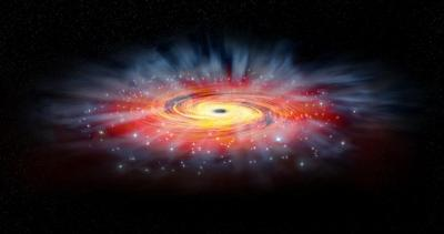 Illustration of the environment around the supermassive black hole Sagittarius A*, located some 26,000 light years away at the center the Milky Way.  <i>Illustration by NASA/CXC/M.Weiss</i>