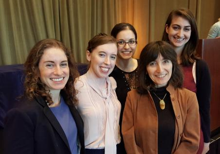 Professor Wendy Freedman (second from right) with PSD grad students Laura Kreidberg, Megan Bedell, Maya Fishbach, and Nora Shipp